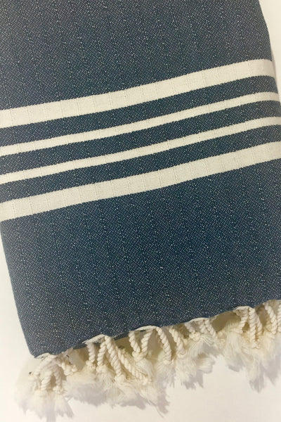 Mandalina Thick Stripe Turkish Towel/Throw, navy