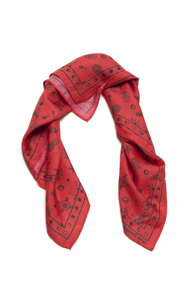 Squar'd Away The Amulet Silk Scarf, red