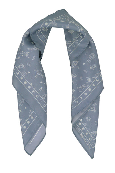 Squar'd Away The Amulet Silk Scarf, slate
