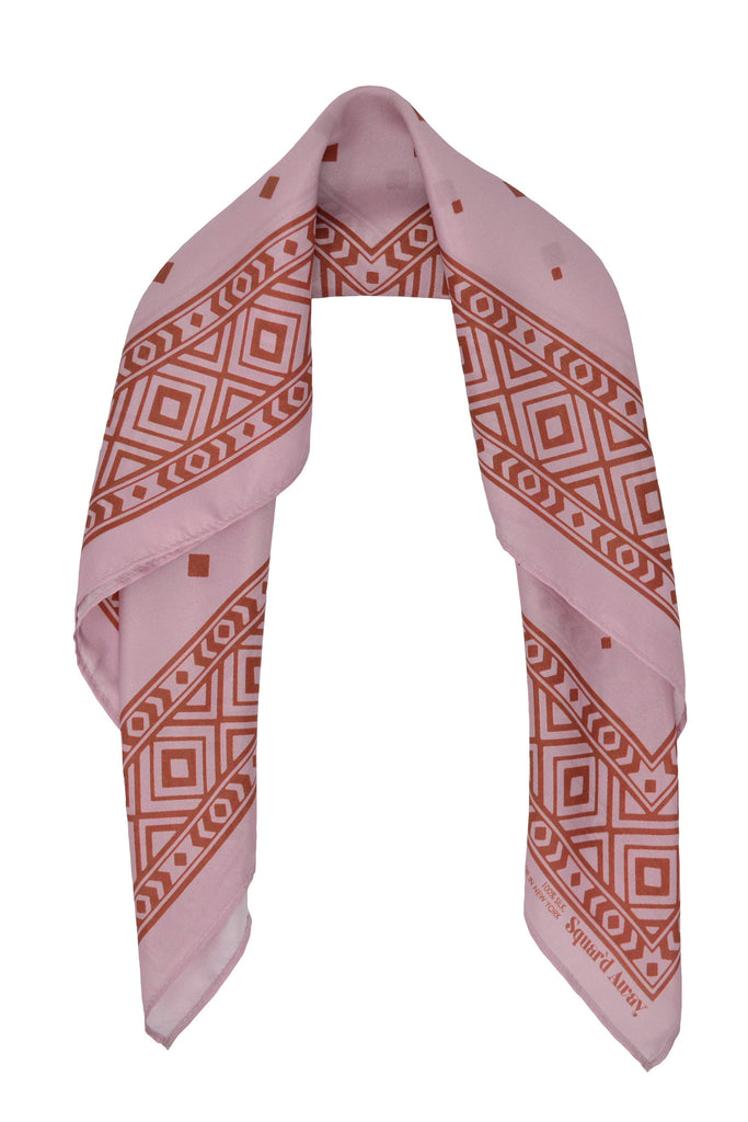 Squar'd Away The Stone Fox Silk Scarf, dusty pink