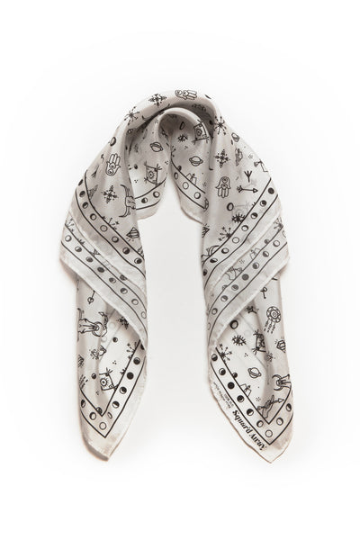Squar'd Away The Amulet Silk Scarf, white