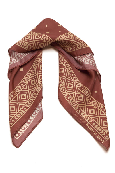 Squar'd Away The Stone Fox Silk Scarf, burnt orange