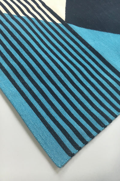 Tantuvi Dusk Teal Striped Rug view 3