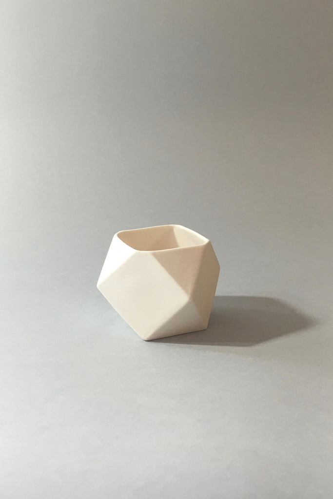 The Granite, white ceramic polyhedron votive