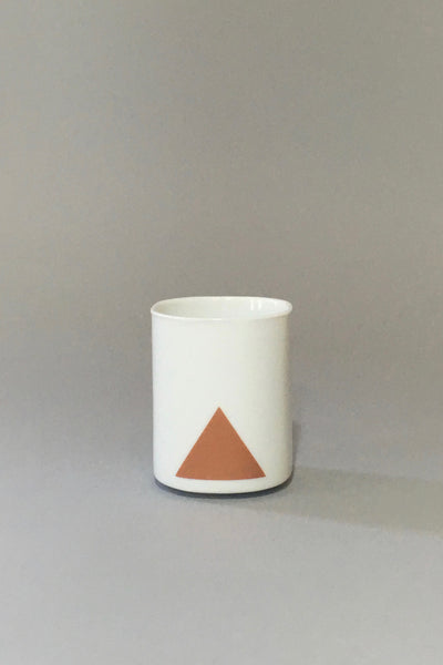 Xenia Taler Triangle/Hill Tumbler, metallic printed porcelain cup, triangle