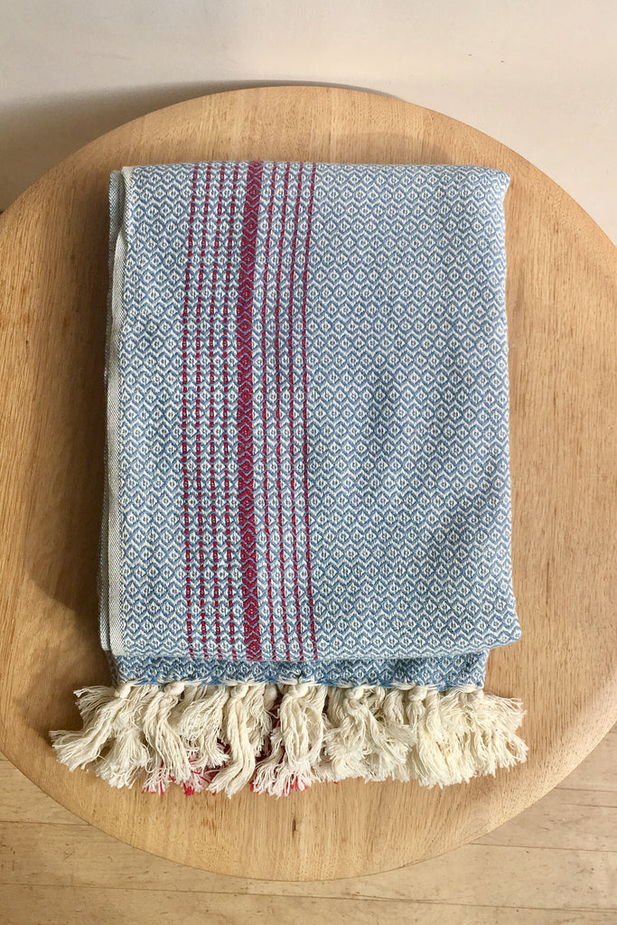 Mandalina Valenica Turkish Towel/Throw, blue
