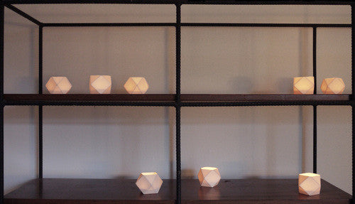 The Granite, white ceramic polyhedron votive, grouping