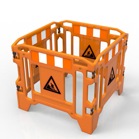 WORK SAFETY FENCE 4 PC C/W FEET