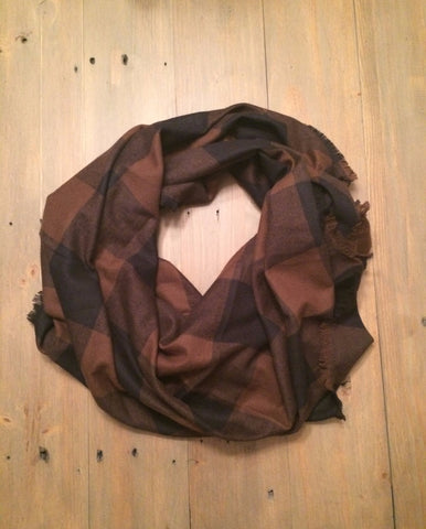 Black & Brown Buffalo Blanket Scarf