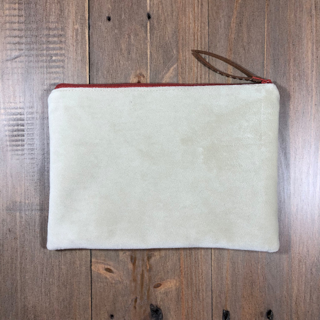 Beige & Rust Velvet Small Clutch