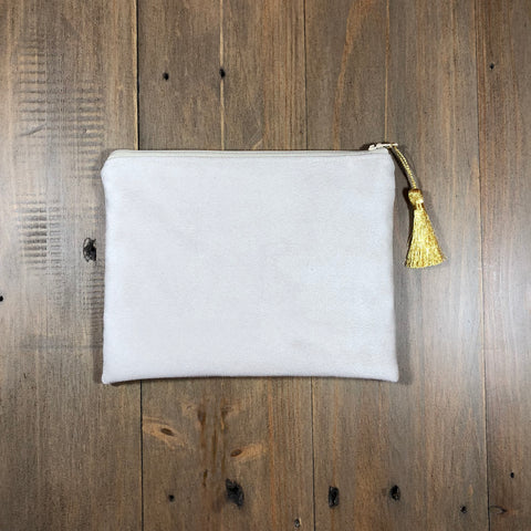 Beige Suede Small Clutch
