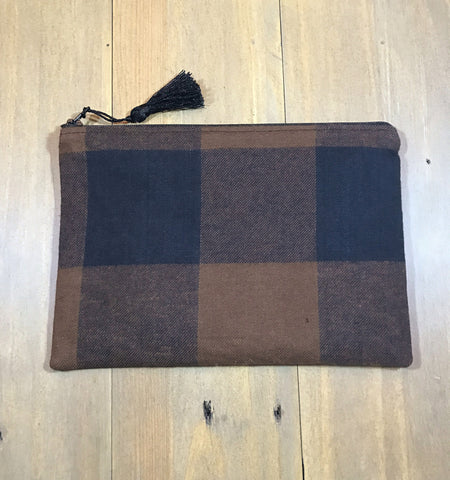 Black & Brown Buffalo Plaid Small Clutch