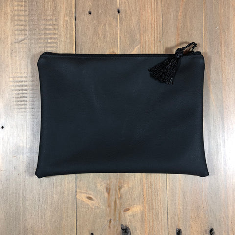 Black Faux Leather Small Clutch