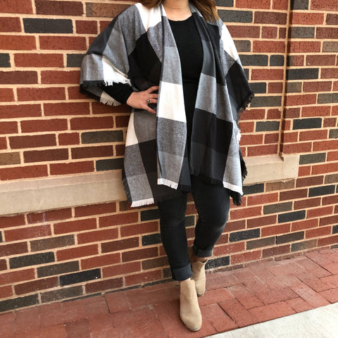 Black & White Plaid Cape