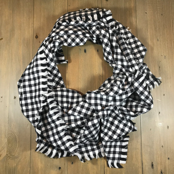 Black & White Mini Buffalo Plaid Blanket Scarf