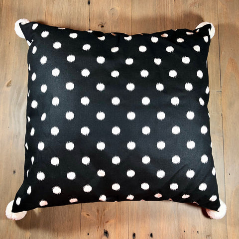 Black & Cream Pom Pom Pillow