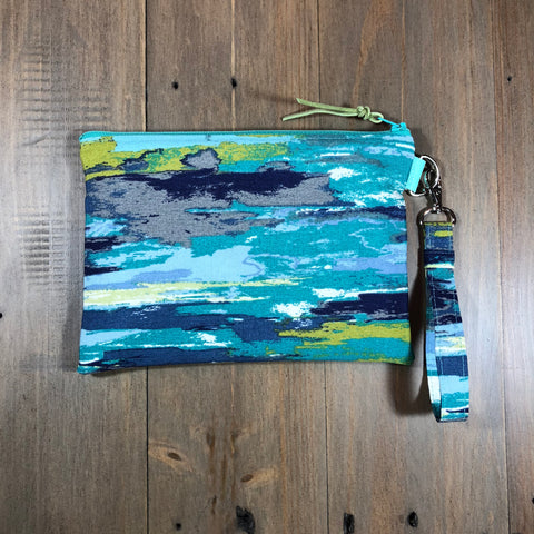 Blue Brush Wristlet