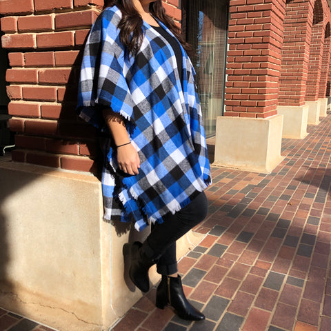 Blue Buffalo Plaid Cape