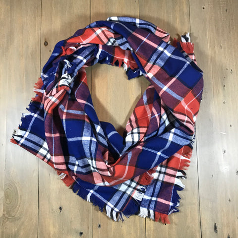 Blue & Orange Plaid Blanket Scarf
