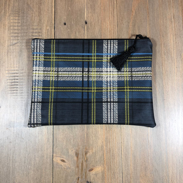 Blue Plaid Small Clutch