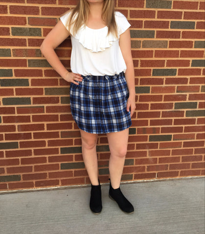 Blue & White Plaid Flannel Skirt