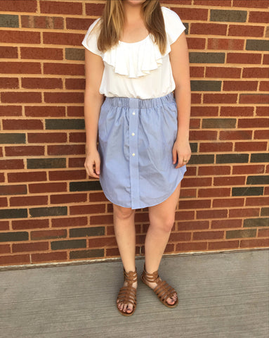 Blue & White Striped Oxford Skirt