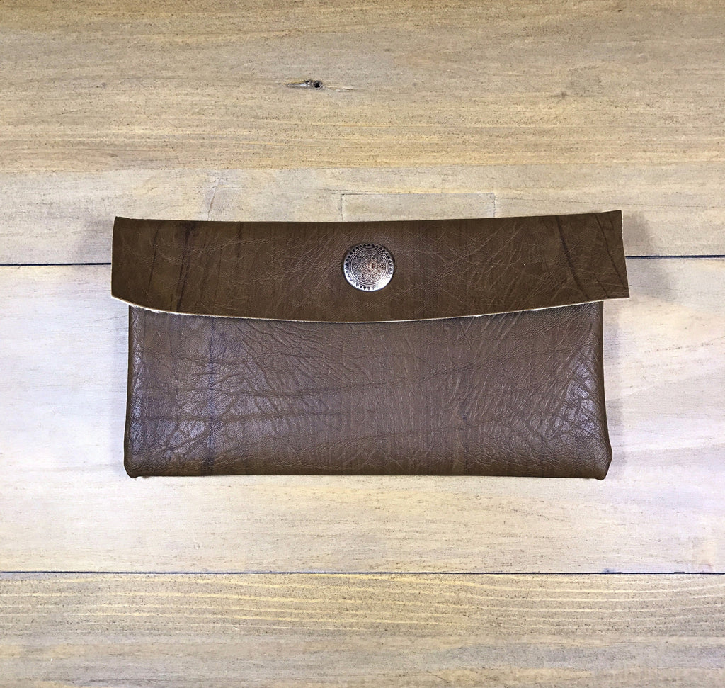Brown Wood & Silver Mini Clutch