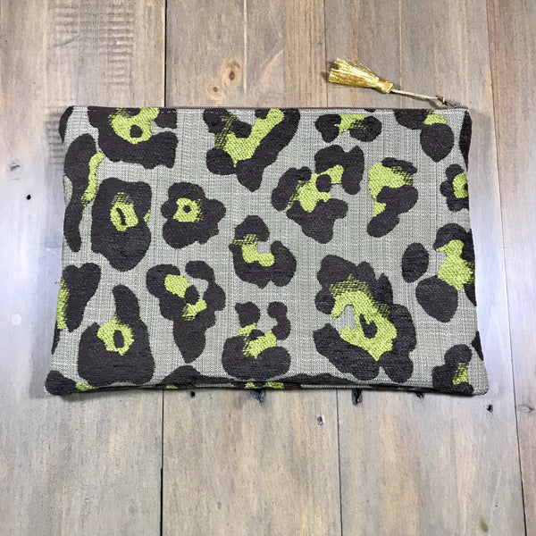 Chartreuse Leopard Clutch