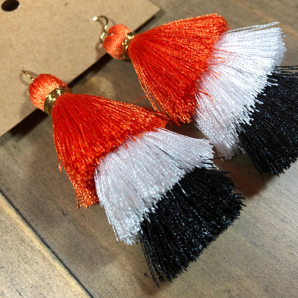 Orange & Black Tassel Earrings