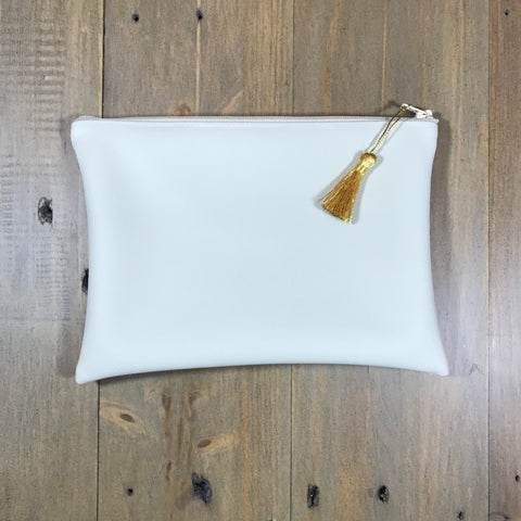 Cream Faux Leather Small Clutch