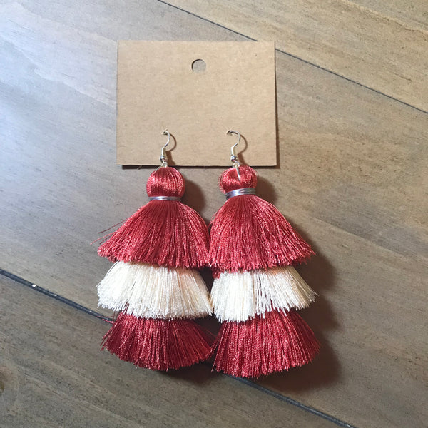 Crimson & Cream Tassel Earrings
