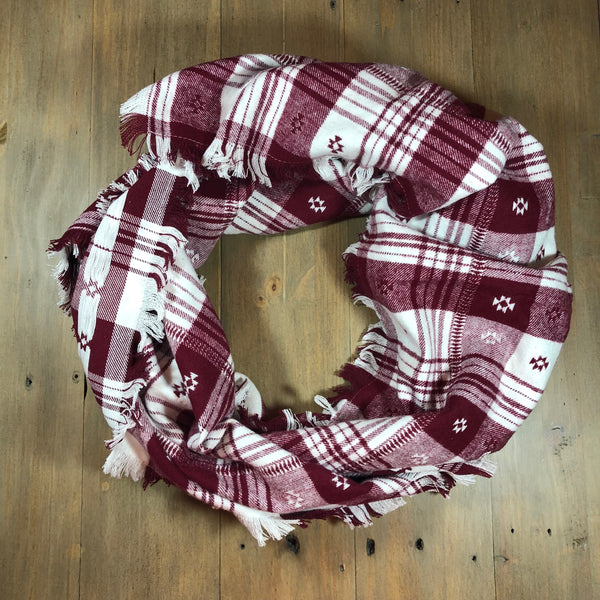 Crimson and White Blanket Scarf