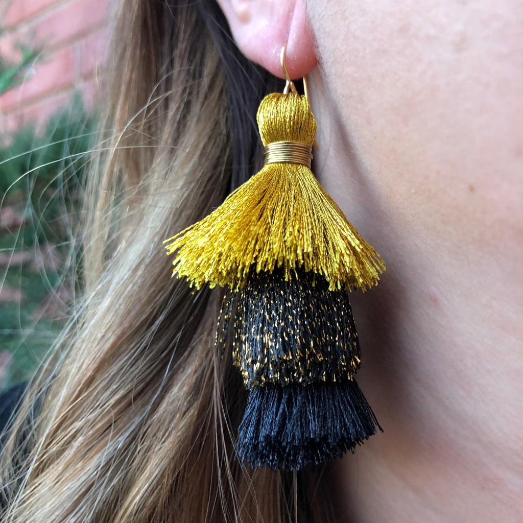 Gold Ombre Tassel Earrings