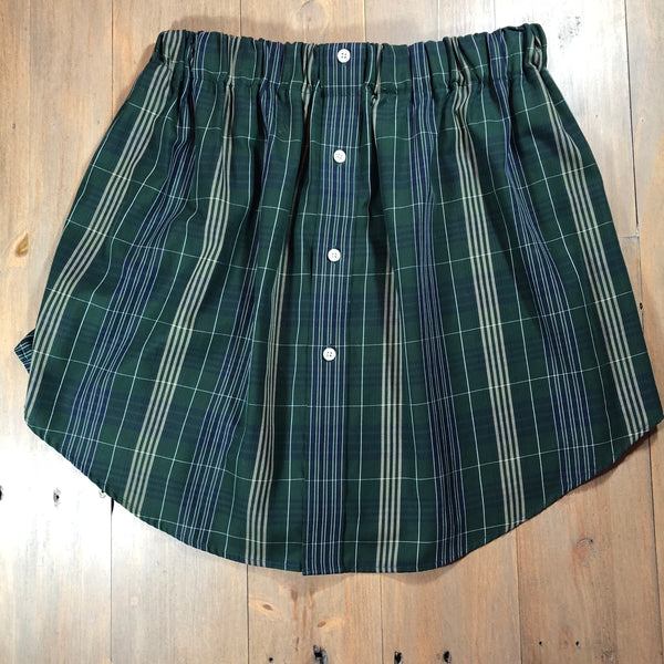 Green & Navy Plaid Oxford Skirt