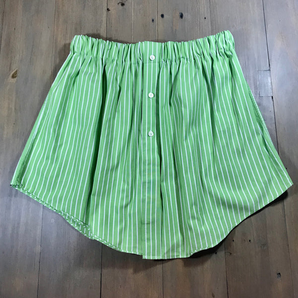 Green Striped Oxford Skirt
