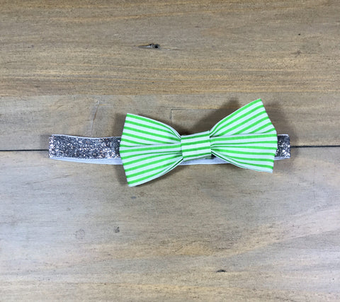 Green Striped & Silver Bow Headband