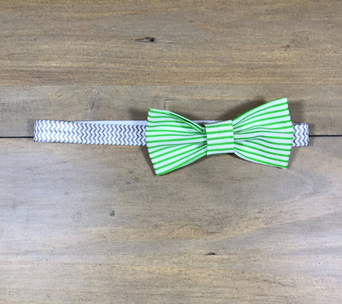 Green Striped & White Bow Headband