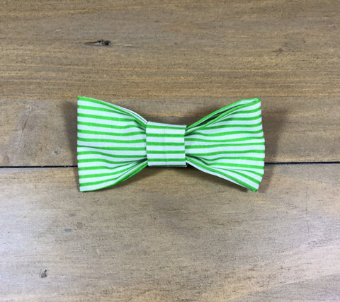 Green & White Striped Bow