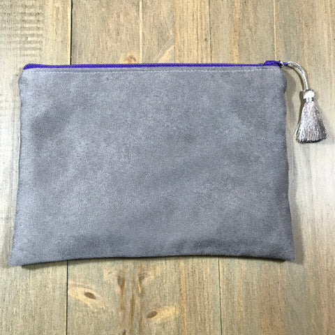 Grey & Purple Suede Small Clutch