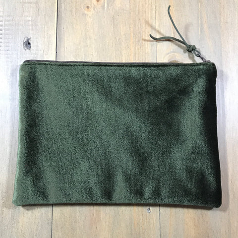 Hunter Green & Brown Velvet Small Clutch