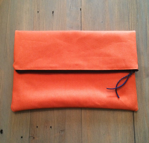 Orange Fold-Over Clutch