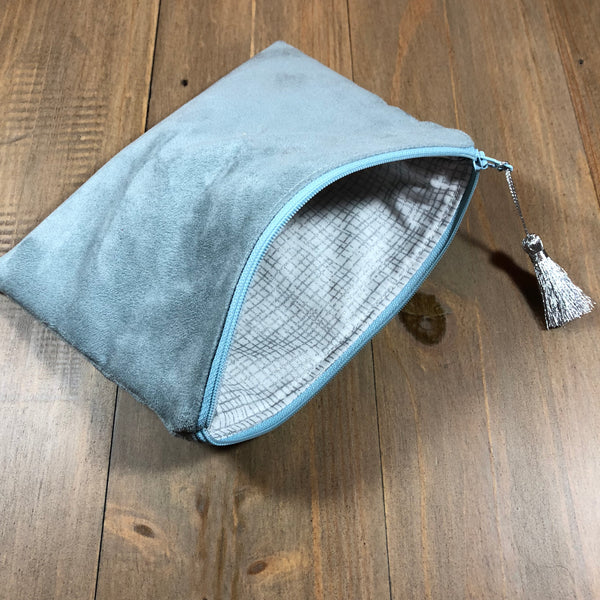Light Blue Suede Small Clutch