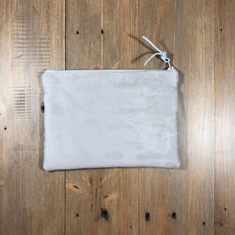 Light Grey Suede Small Clutch