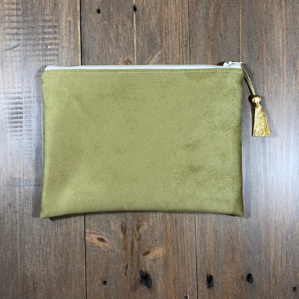Moss Suede Small Clutch