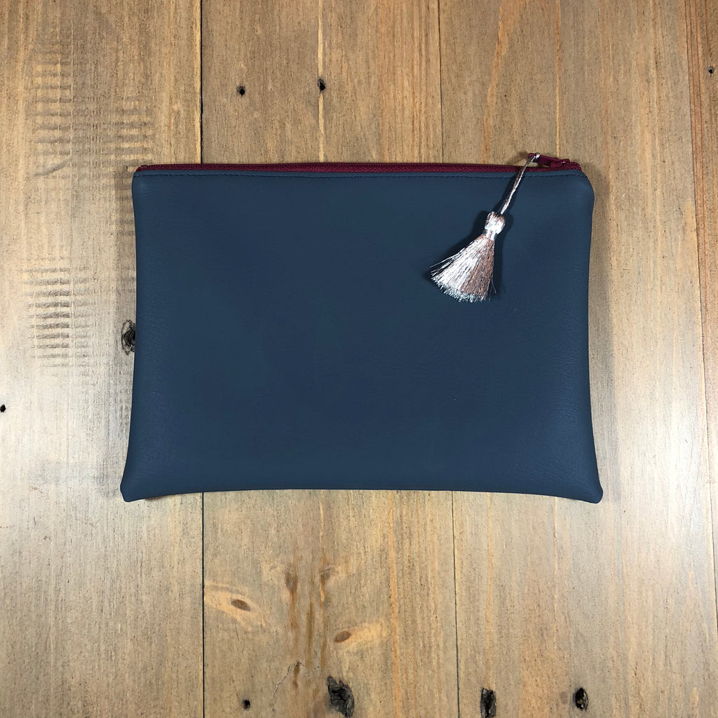 Navy Faux Leather Small Clutch