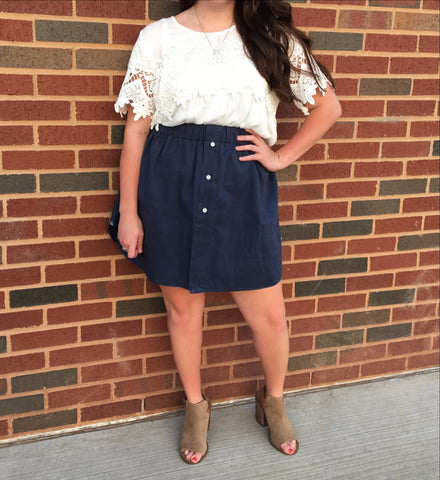 Navy Oxford Skirt