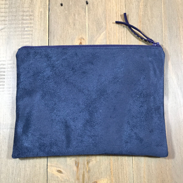 Navy Suede Small Clutch