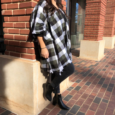 Olive Buffalo Plaid Cape