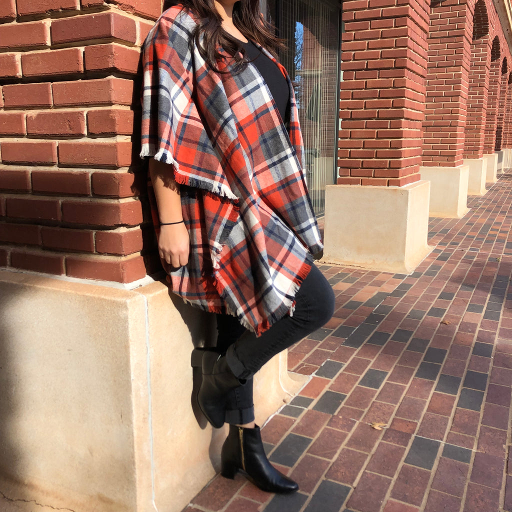Orange & Blue Plaid Cape