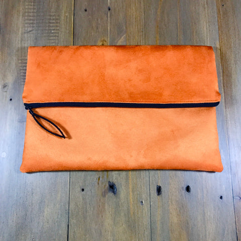 Orange Suede Fold-Over Clutch